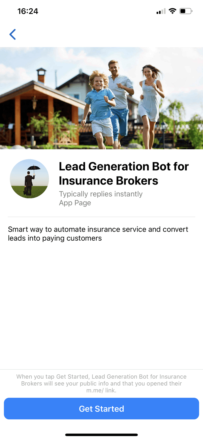 Lead Generation Bot for Insurance Brokers bot screenshot