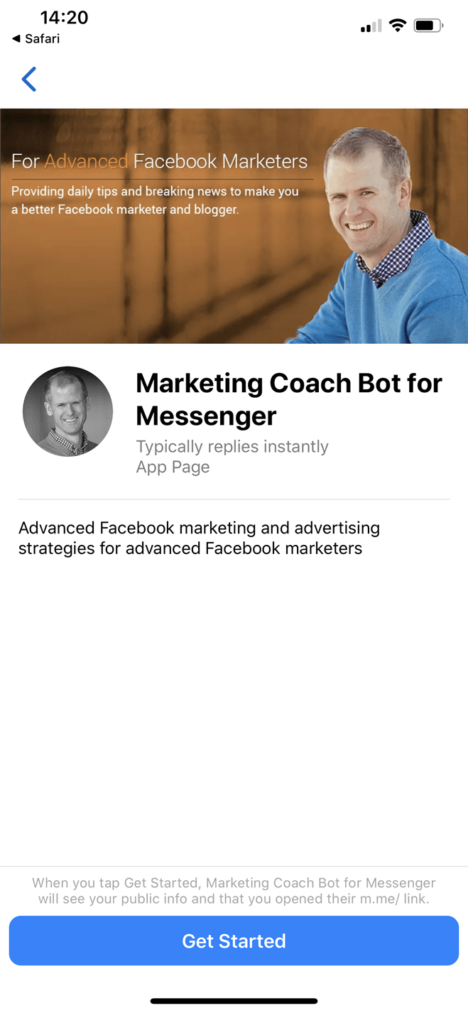 Facebook Marketing Coach bot screenshot