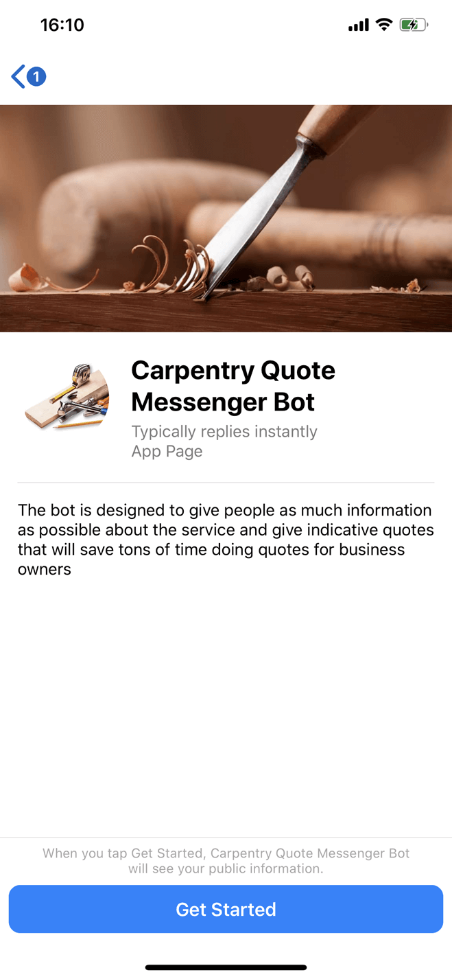 Carpentry quote Messenger bot screenshot