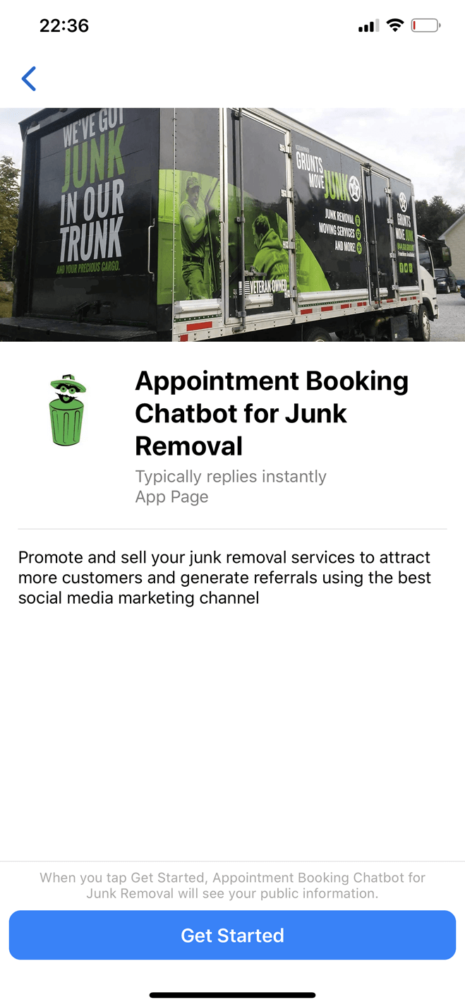 Junk removal bot screenshot