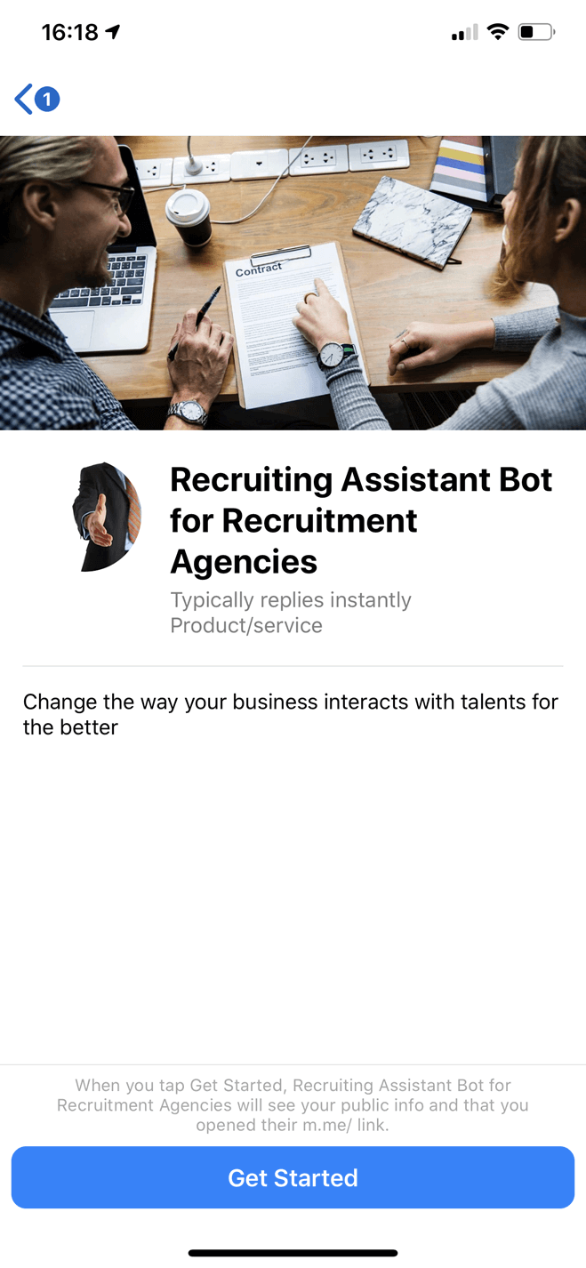 Recruiting Assistant bot screenshot