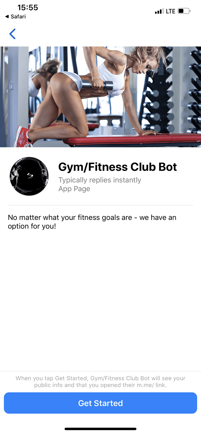 Gym and Fitness Club bot screenshot