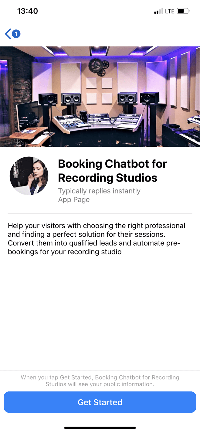 Recording studio bot screenshot