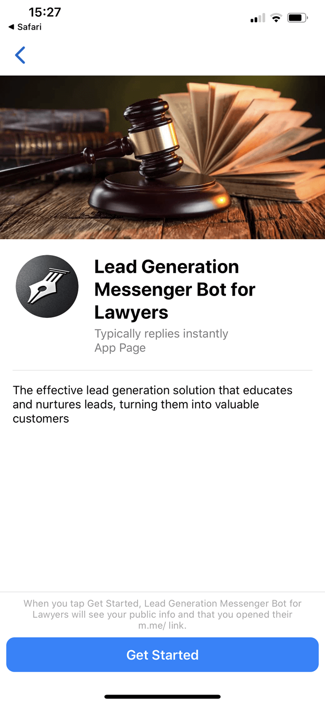 Lead Generation Messenger Bot for Lawyers bot screenshot