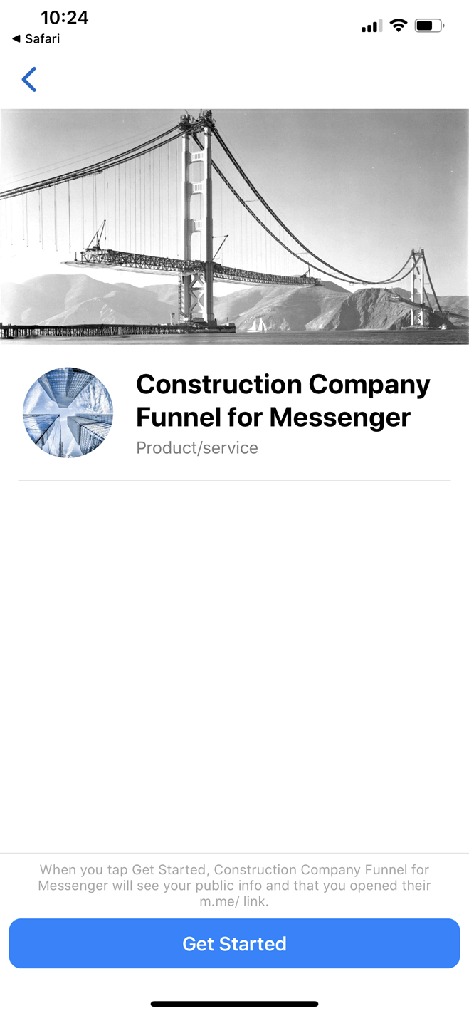 Construction company Messenger bot screenshot