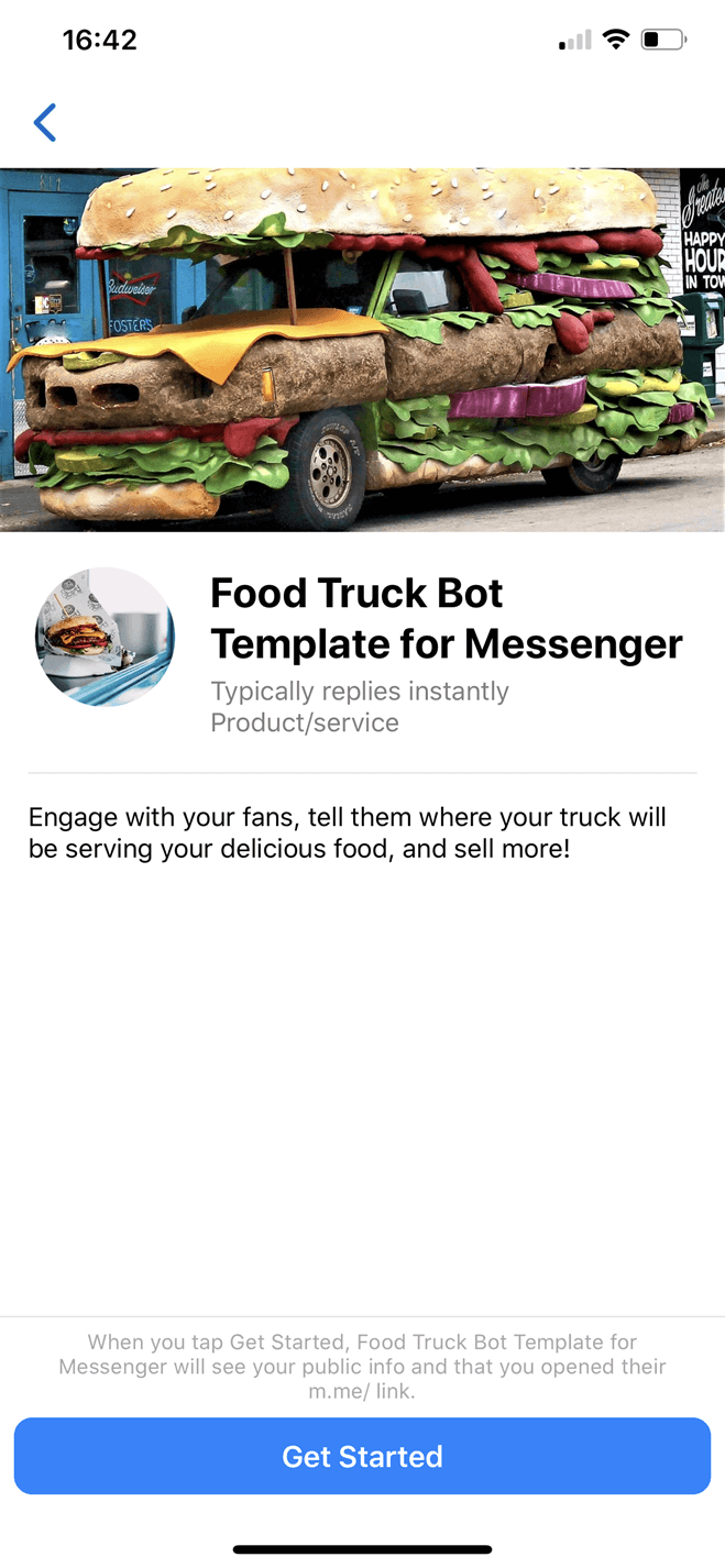 Bot per food truck per Messenger