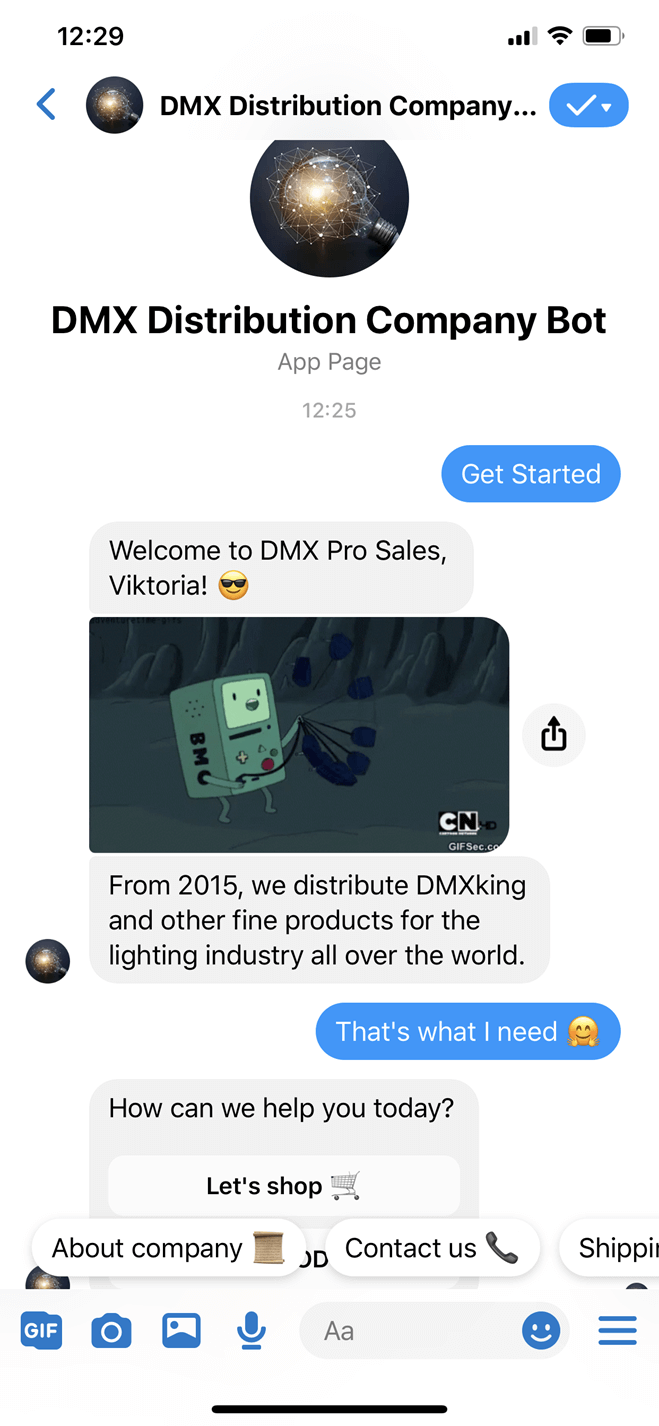 DMX distribution company bot screenshot