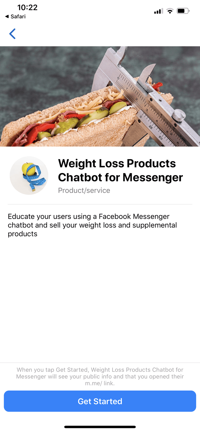 Weight Loss Products Chatbot for Messenger