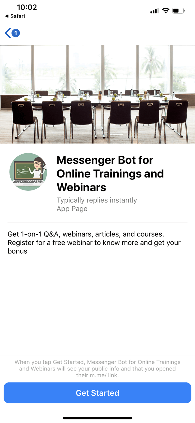 Online Trainings and Webinars Messenger bot screenshot