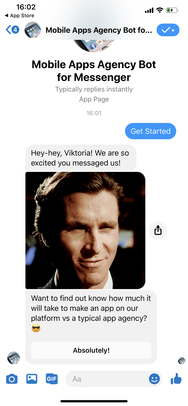 Mobile apps agency Messenger bot screenshot