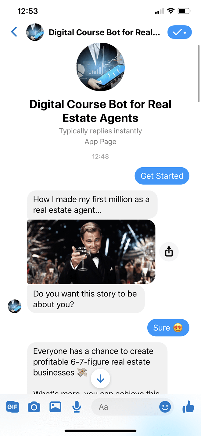 Digital course for real estate agents bot screenshot