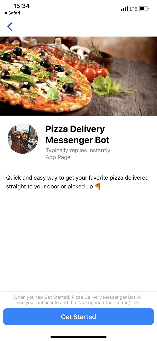 Pizza Ordering and Delivery bot screenshot