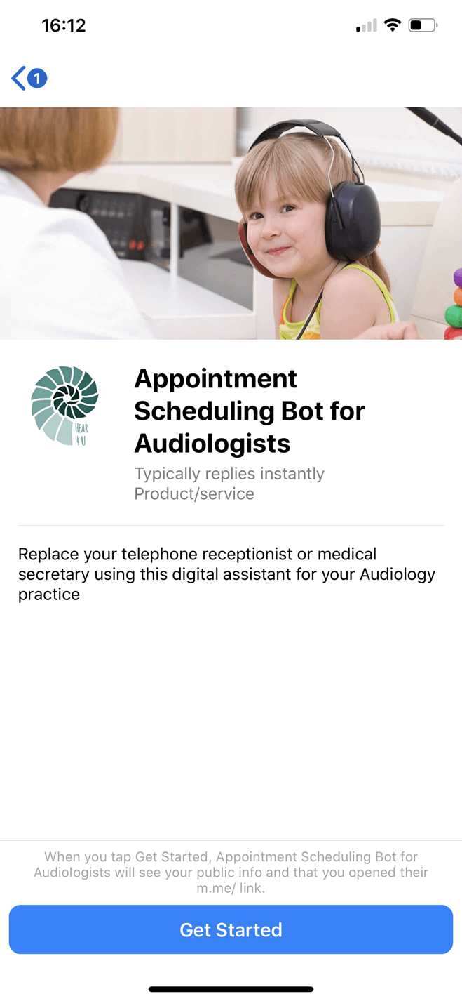 Audiologist bot screenshot
