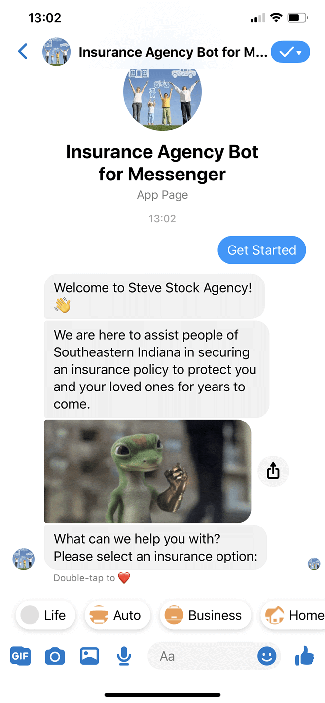Insurance Agency Bot for Messenger