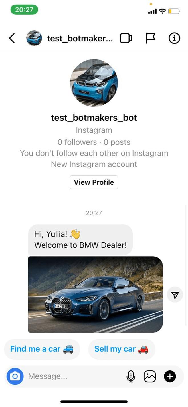 Instagram Bot for Car Dealerships bot screenshot