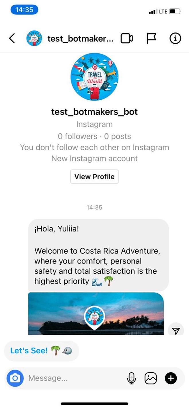 Travel Agency bot screenshot