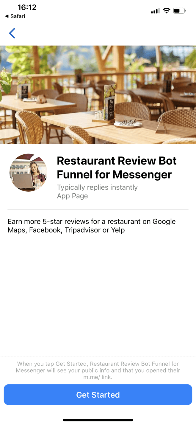 Restaurant Review Funnel for Messenger bot screenshot