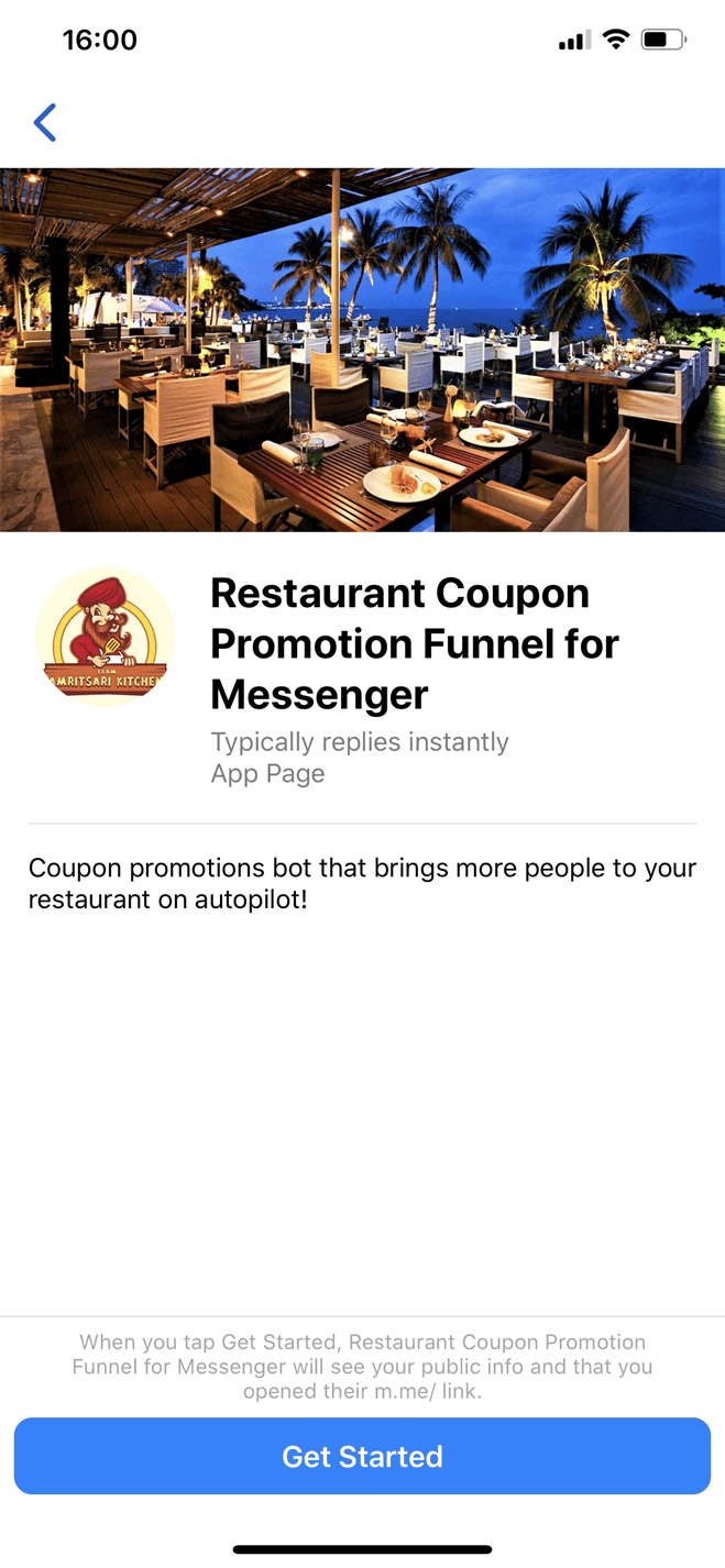 Bot Messenger de promotions coupon de restaurant