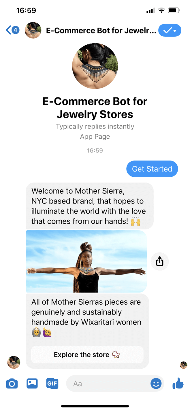 Jewelry store Messenger bot screenshot