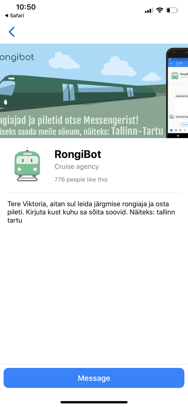 Bus and Train Tickets Facebook Bot