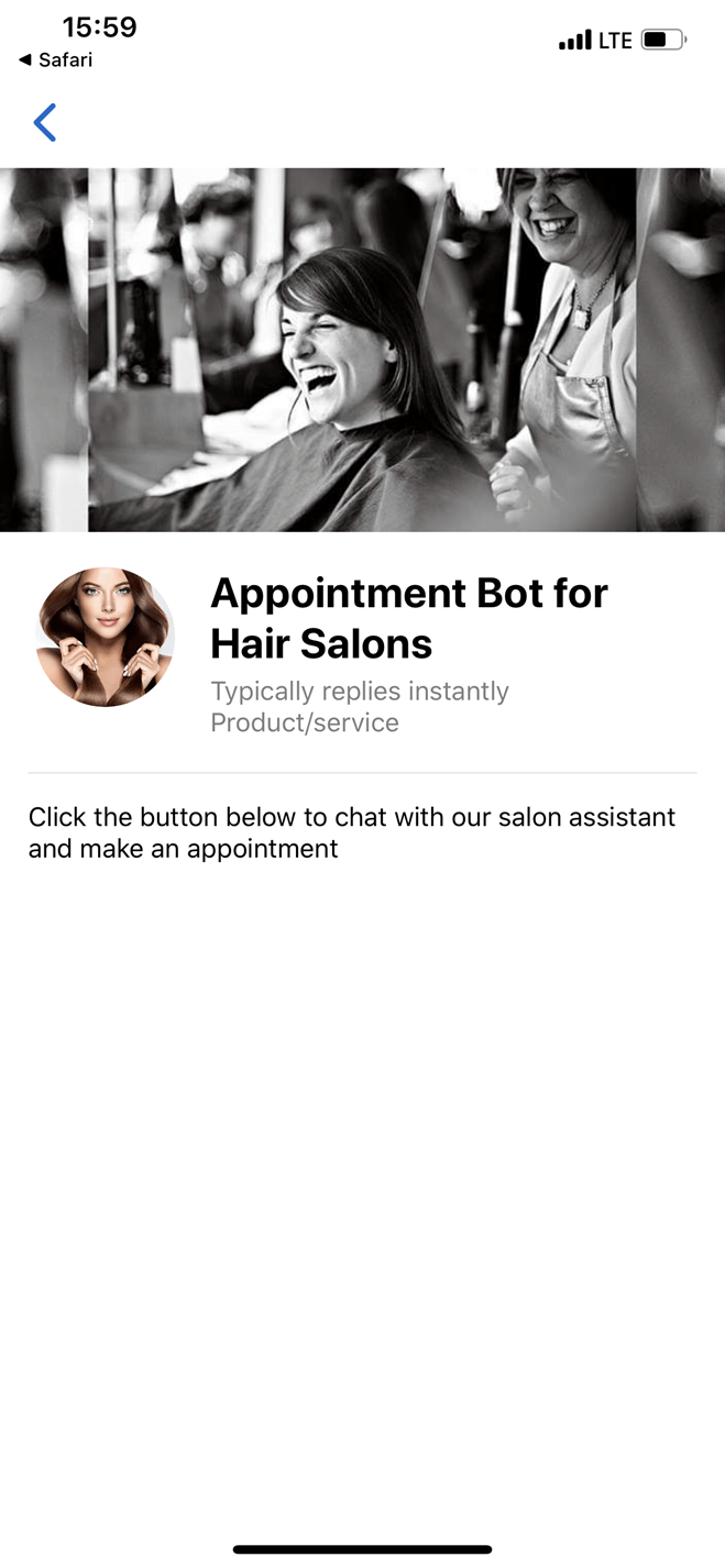Scheduling Bot for Hair Salons Messenger bot screenshot