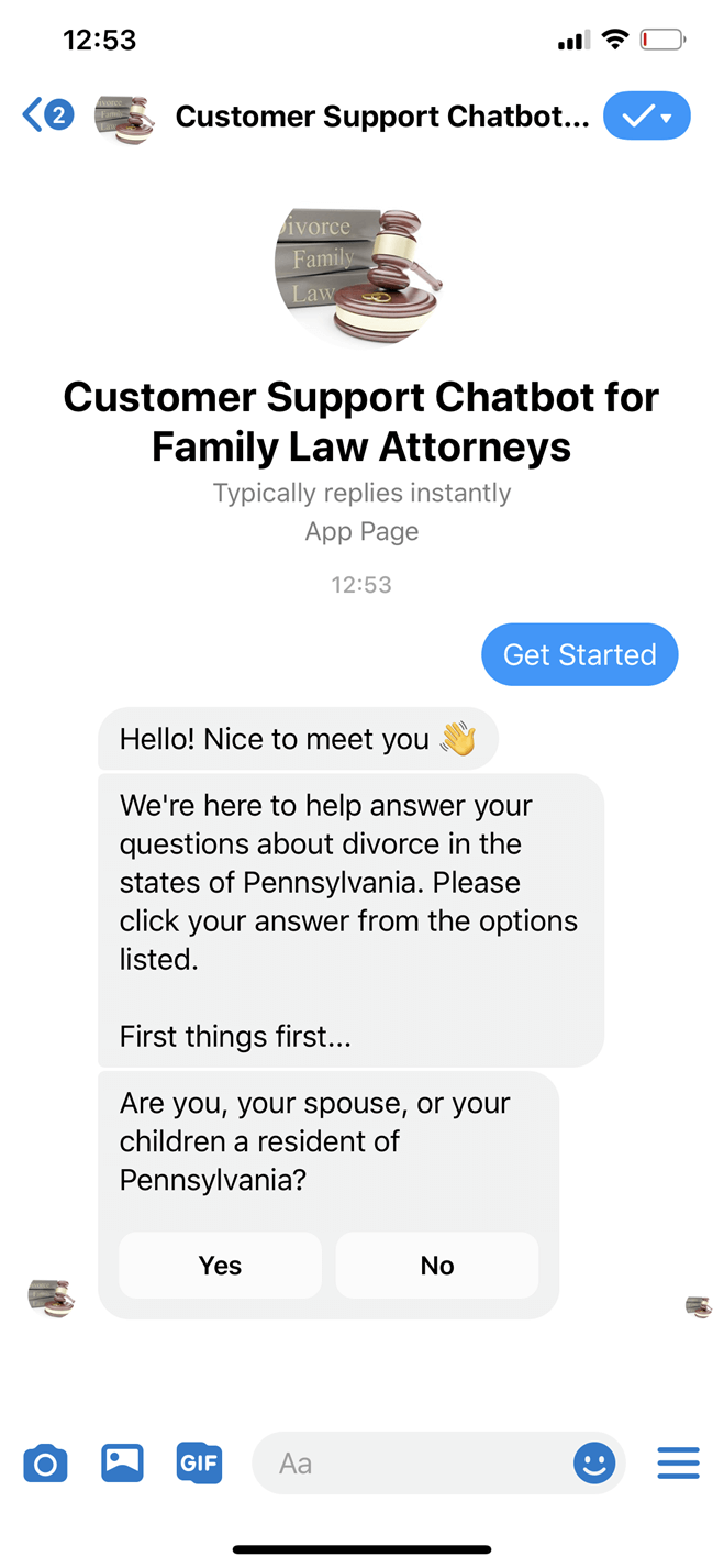 Family law attorney Messenger bot screenshot