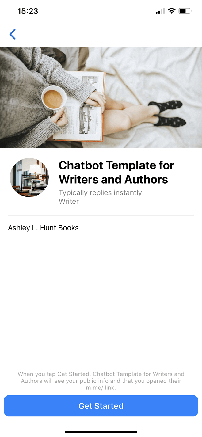 E-Commerce Bot Template for Writers and Authors Messenger bot screenshot